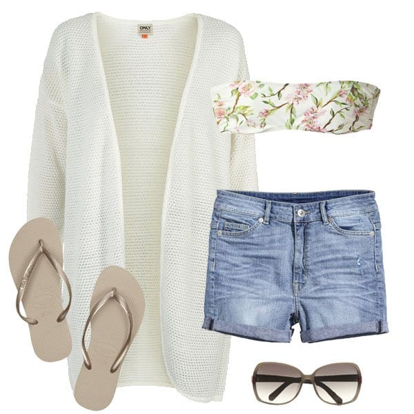 Memorial Day outfit with floral bandeau crop top and denim shorts
