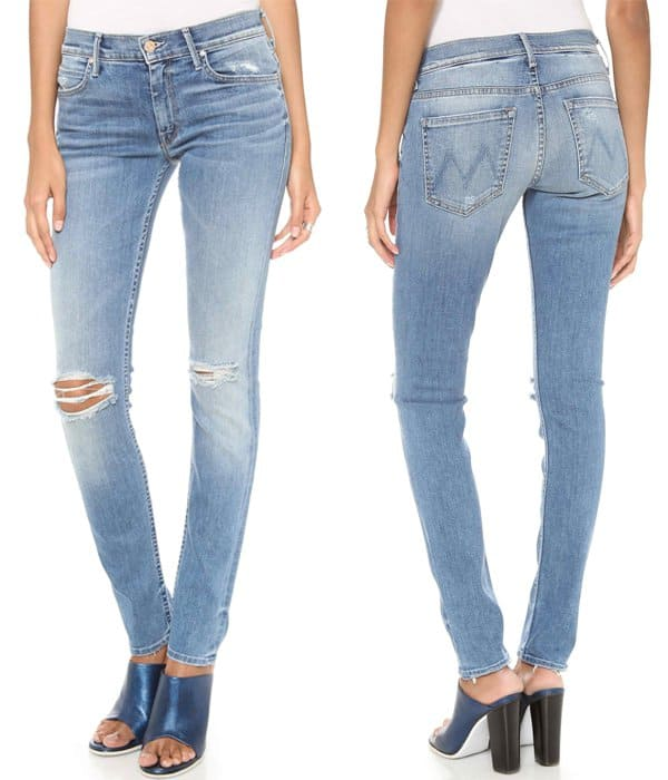 Shredded holes and worn edges give a distressed feel to MOTHER skinny jeans, rendered in a figure-hugging silhouette