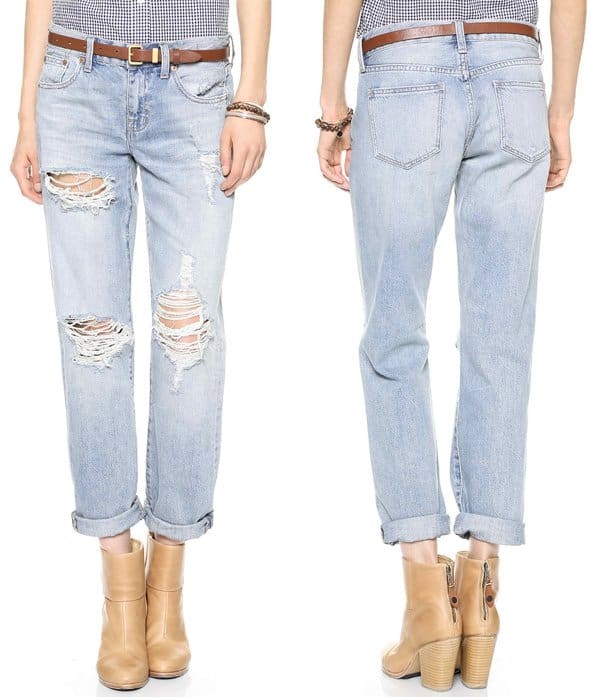 Shredded holes and a faded wash give these casual Madewell boyfriend jeans a cool, undone feel