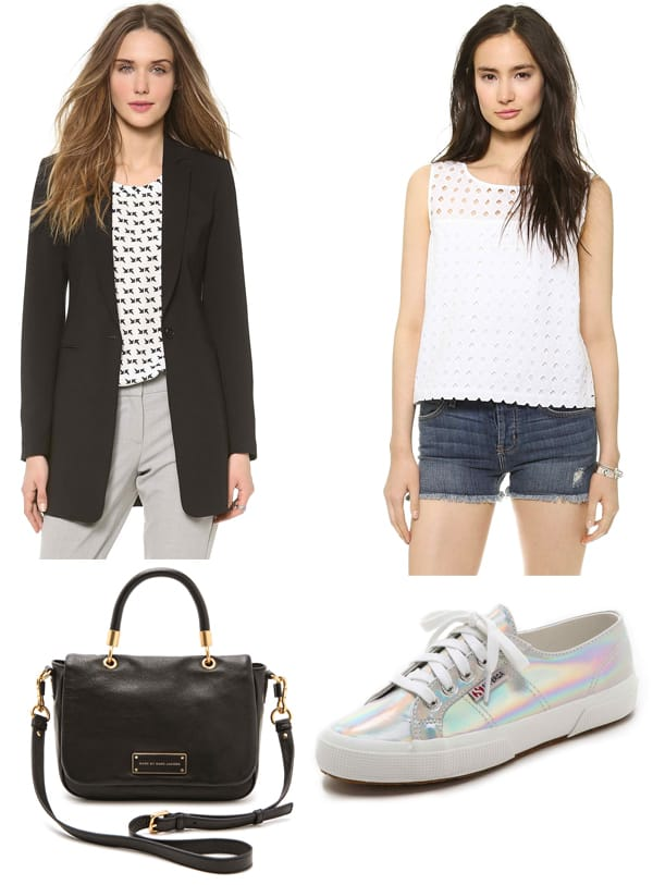 Theory Marcela Blazer / Dakota Tuck Tank / Superga Mirrored Sneakers / Marc by Marc Jacobs Too Hot to Handle Small Top Handle Bag