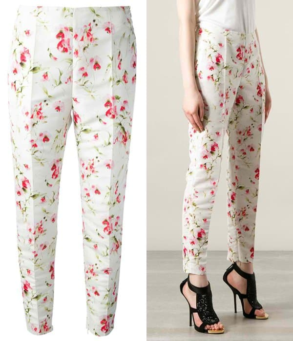 Red Valentino Cropped Floral Print Trouser