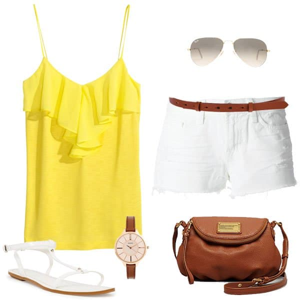 Hot Memorial Day outfit with a yellow top and denim shorts