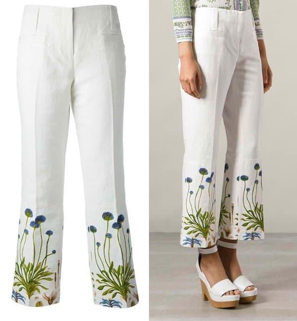 Tory Burch Floral Embroidered Trouser