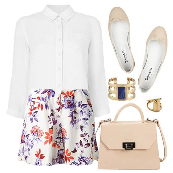 Hot Memorial Day outfit with white shirt and floral shorts