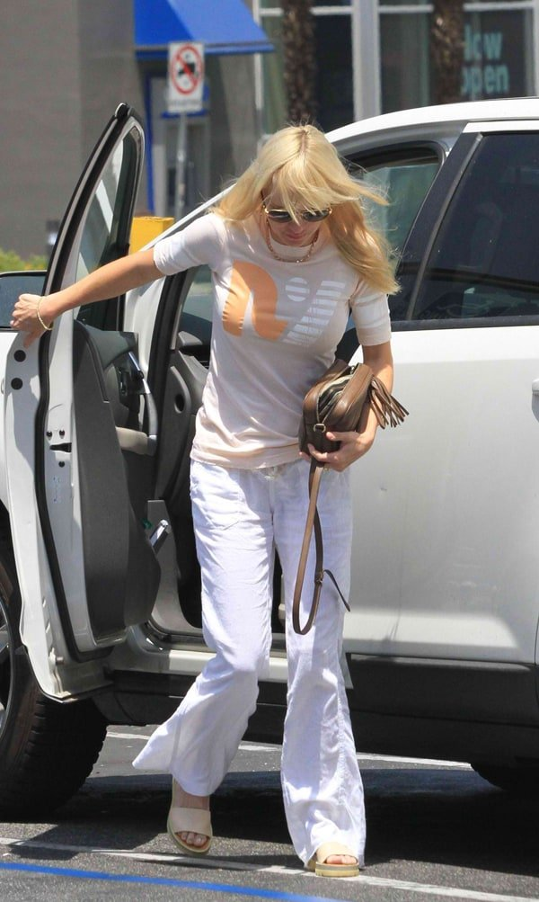 Anna Faris laden down with grocery bags after shopping at Bristol Farms in Los Angeles on June 7, 2014