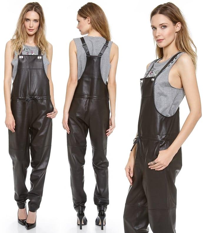 Polished turn locks fasten adjustable shoulder straps, while a simple drawstring gathers the waist