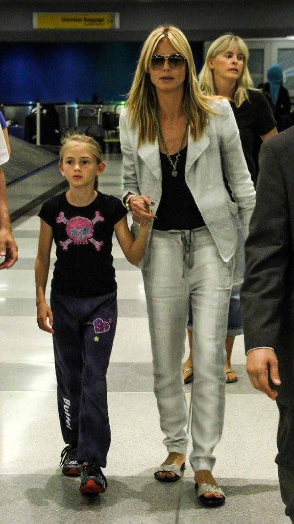 Heidi Klum wearing drawstring pants at John F. Kennedy International Airport
