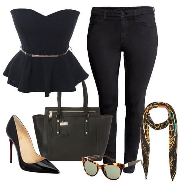 Plus size ensemble with dark skinny jeans