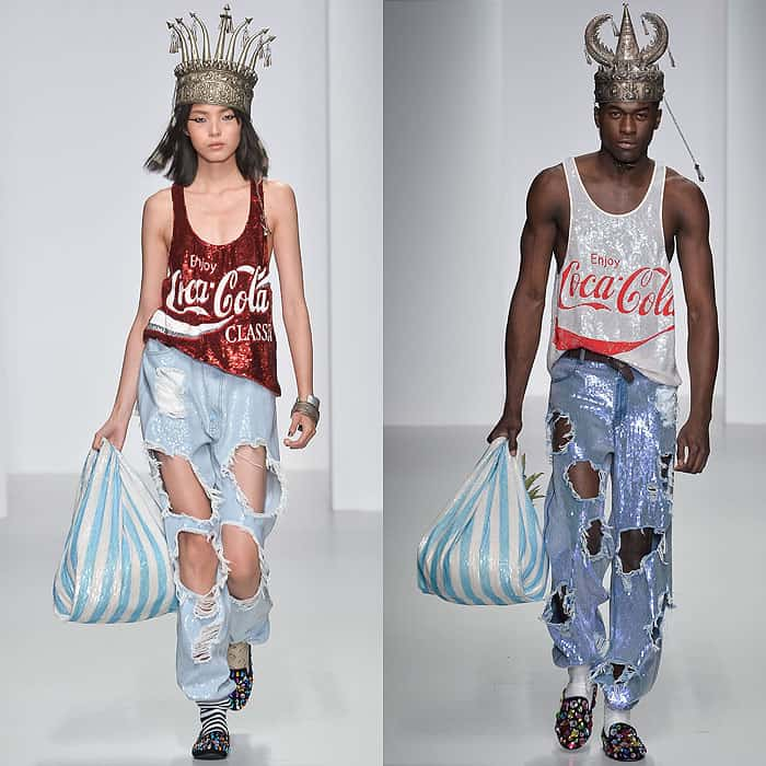 Looks with ripped jeans in the Ashish Spring 2014 fashion presentation held during London Fashion Week in London, England, on September 14, 2013