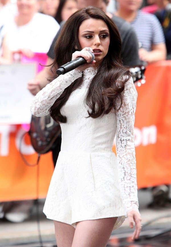 Cher Lloyd wearing a feminine lace romper