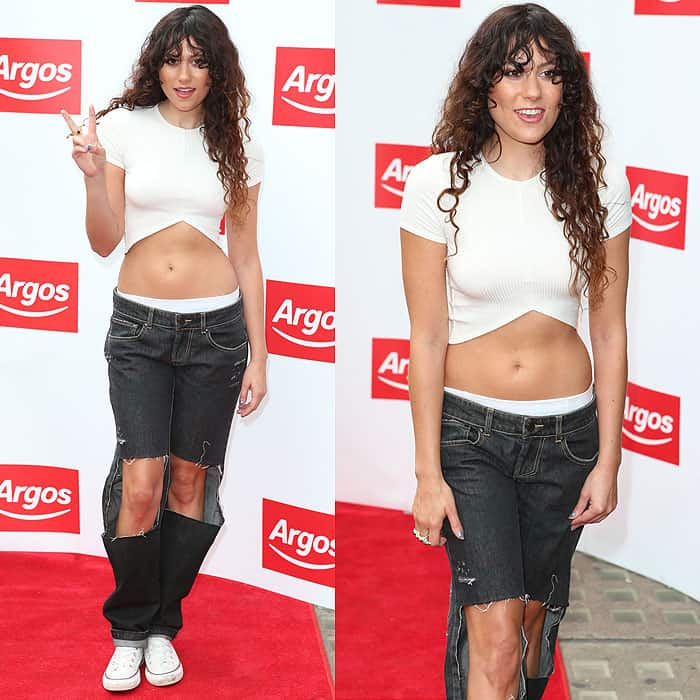 Eliza Doolittle rocks jeans with square cutouts at the launch of the new digital Argos store