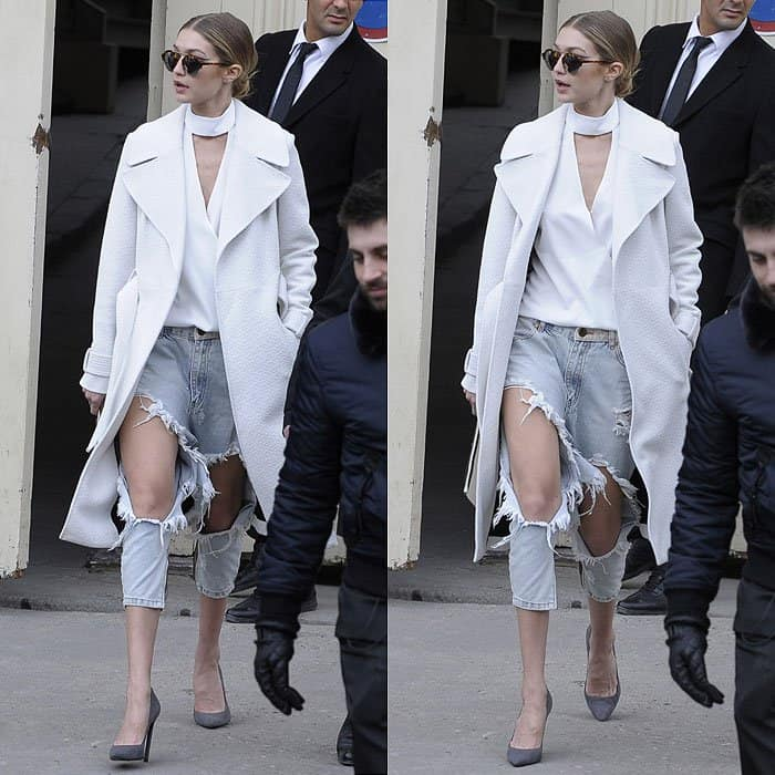 Gigi Hadid's hobo-meets-high-end look with overly ripped jeans