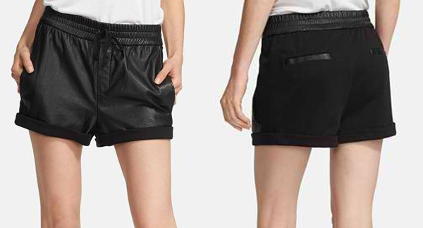 Helmut Lang Washed Leather & Knit Shorts