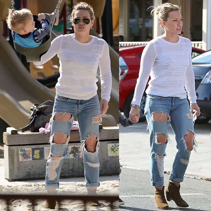 Hilary Duff's distressed jeans with large patches missing