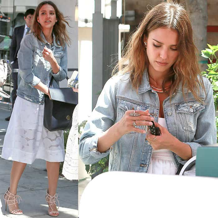 107bfc7c8f How to Wear a Denim Jacket to a Wedding Like Jessica Alba