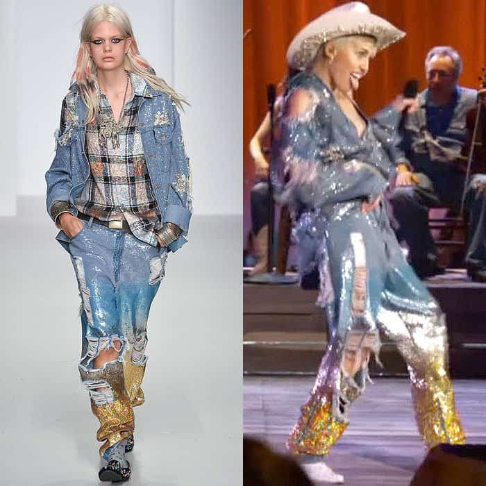 "A look from the Ashish spring 2014 runway worn by Miley Cyrus for her ""MTV Unplugged"" concert with Madonne filmed at Sunset Gower Studios in Los Angeles, California, and aired on January 29, 2014"