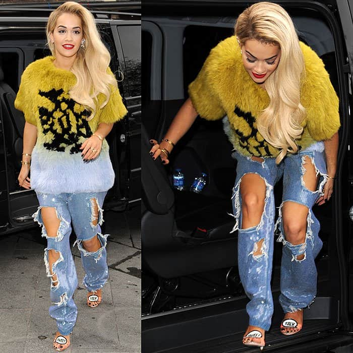 Rita Ora rocks extremely destroyed jeans with big holes when arriving at Global Radio