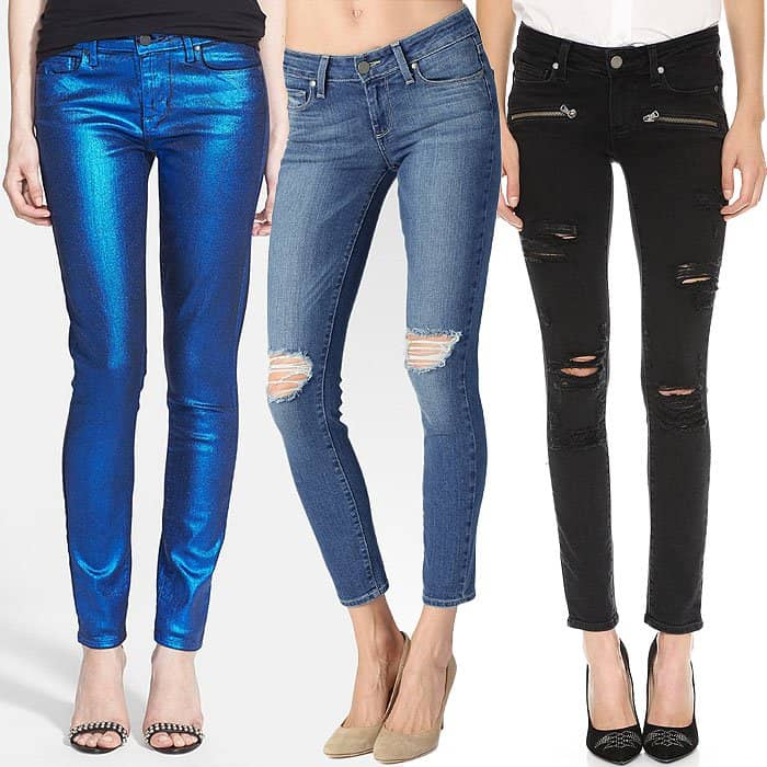 Coated Ultra-Skinny Jeans in Blue Galaxy, Ultra-Skinny Ankle Jeans in Belmont and Zip Ultra-Skinny Jeans in Ramone Destructed