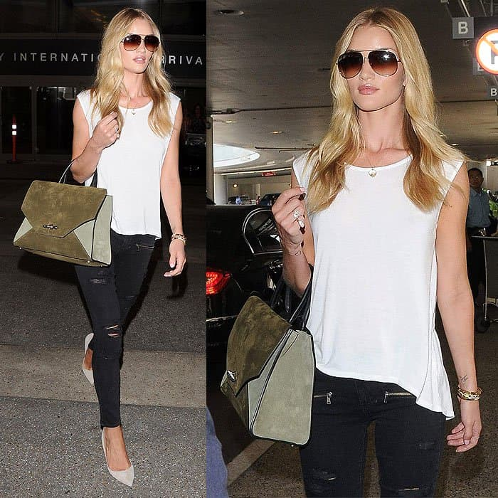 "Rosie Huntington-Whiteley in Paige's popular ""Verdugo"" jeans arriving at the LAX Airport"