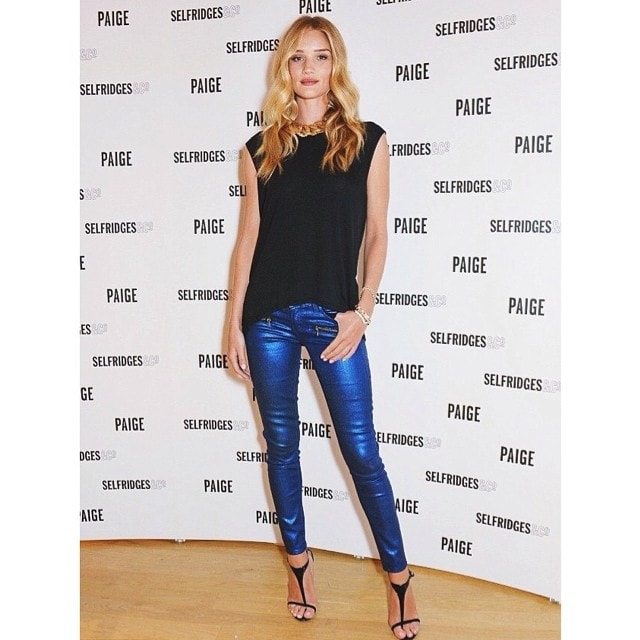Paige Denim shared a photo of Rosie Huntington-Whiteley at the launch of the Paige Shop at Selfridges in London