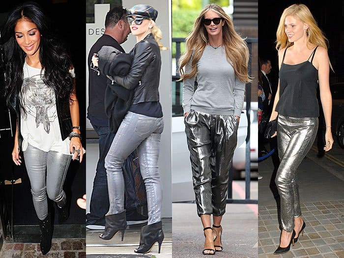 celebrities in metallic jeans