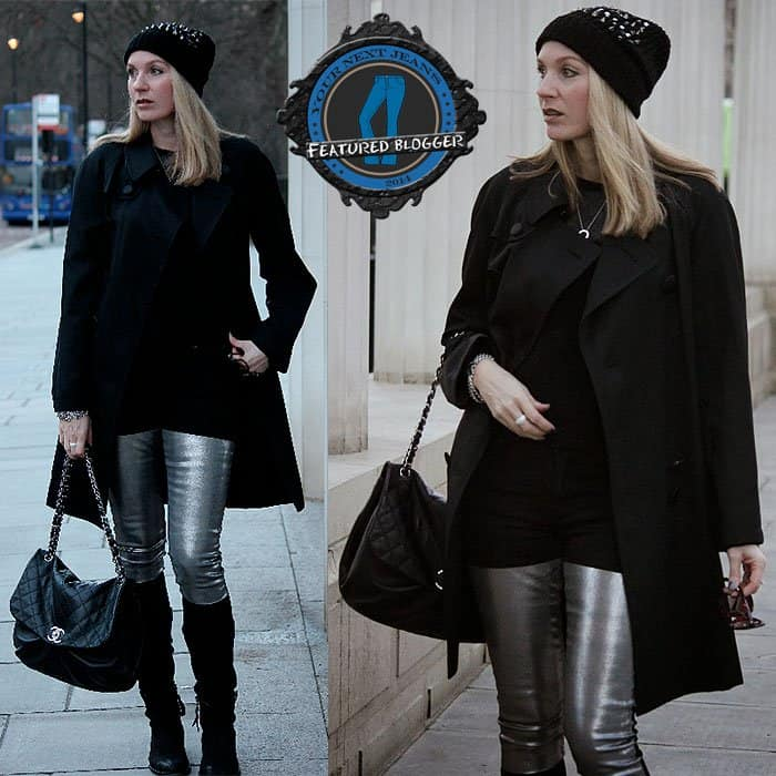 Carmen wearing a black-and-silver look with Acne silver-thigh jeans in London