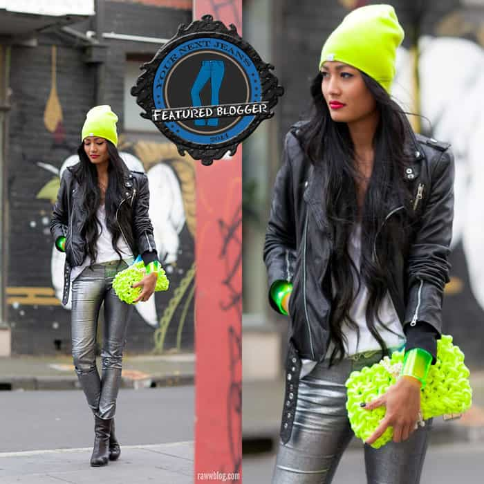 Micah going neon crazy with a black leather jacket and metallic silver jeans