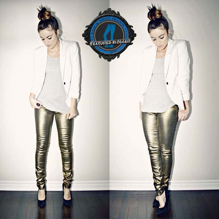 metallic jeans with neutrals