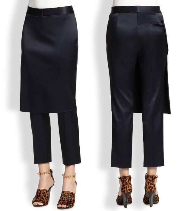 3.1 Phillip Lim Apron Pants in Navy/Black Satin