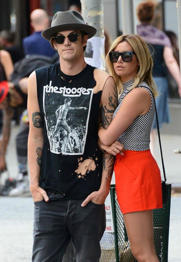 Ashley Tisdale cuddled up to future husband, Christopher French, on the streets of New York a few days ago