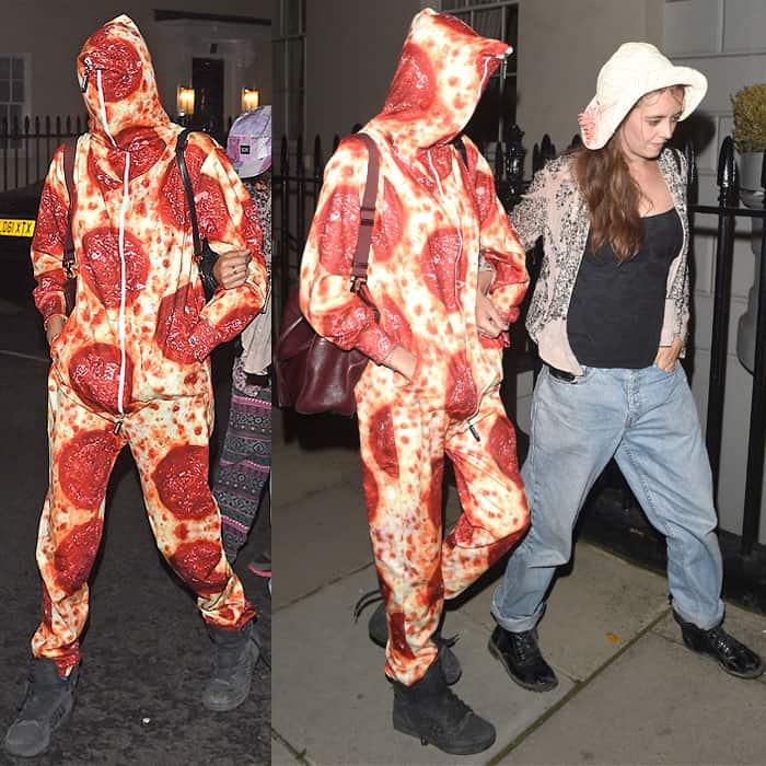 Cara Delevingne wearing a pizza onesie