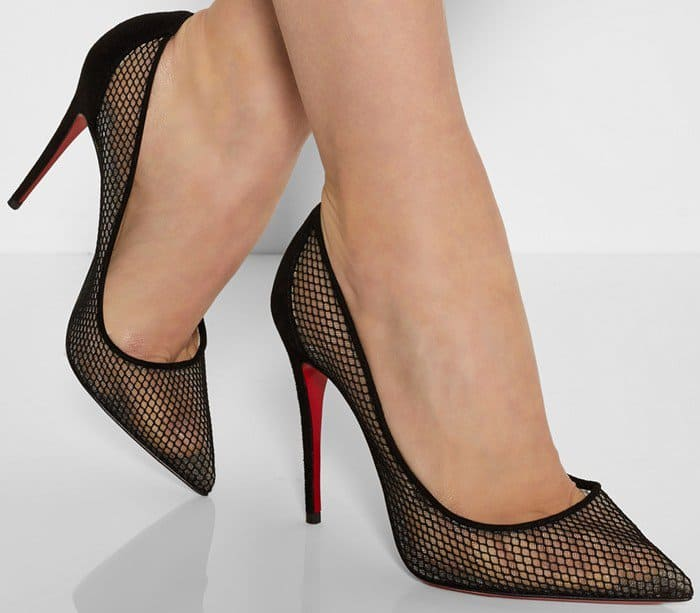 These alluring pumps are crafted in Italy from sheer black mesh and trimmed in suede