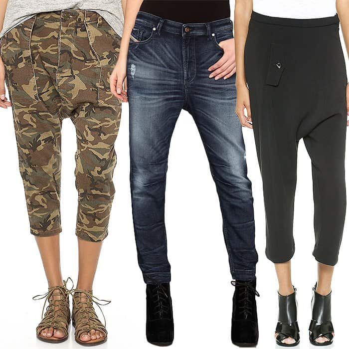 Cropped and boyfriend drop crotch pants 1