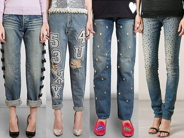 Embellished, embroidered, studded, and gem-encrusted jeans