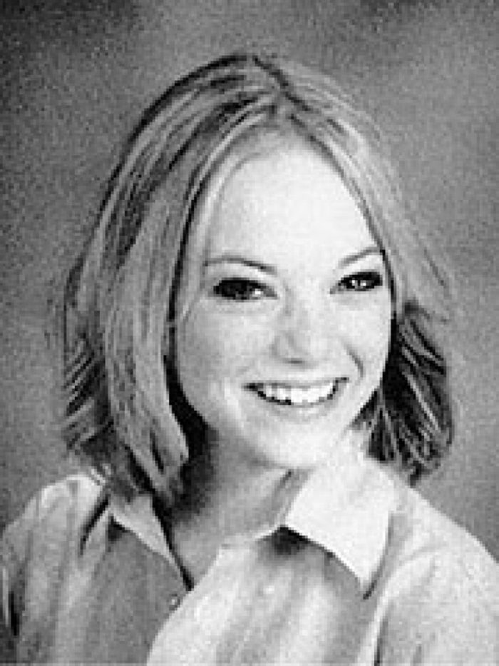 Emma Stone with shoulder-length hair as a student at Xavier College Preparatory, a Catholic, all-female private high school