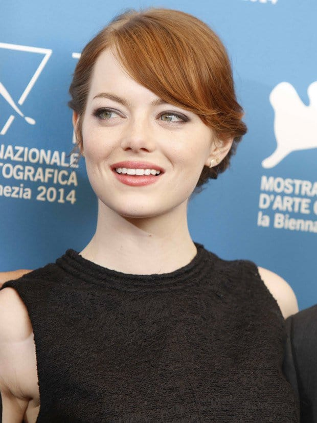 Emma Stone wore a black tweed chiffon top from Proenza Schouler