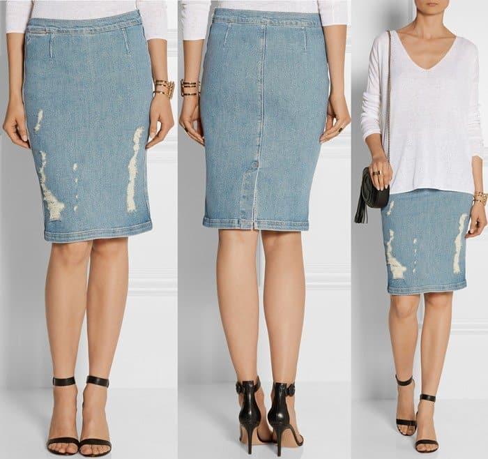 Frame Denim Le High distressed stretch-denim pencil skirt