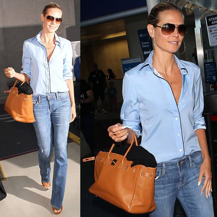 """Heidi Klum styled her pajama shirt with Genetic Denim """"Leaf"""" fit-and-flare jeans"""