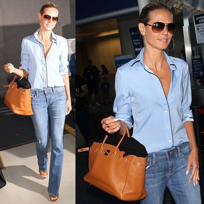 Heidi Klum pajama top flare jeans 1