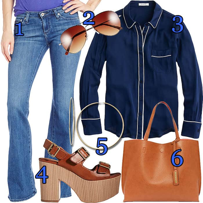 Heidi Klum pajama top flare jeans outfit