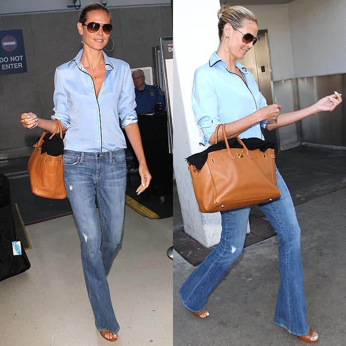 Heidi Klum in an Olatz piped pajama top arriving at LAX Airport