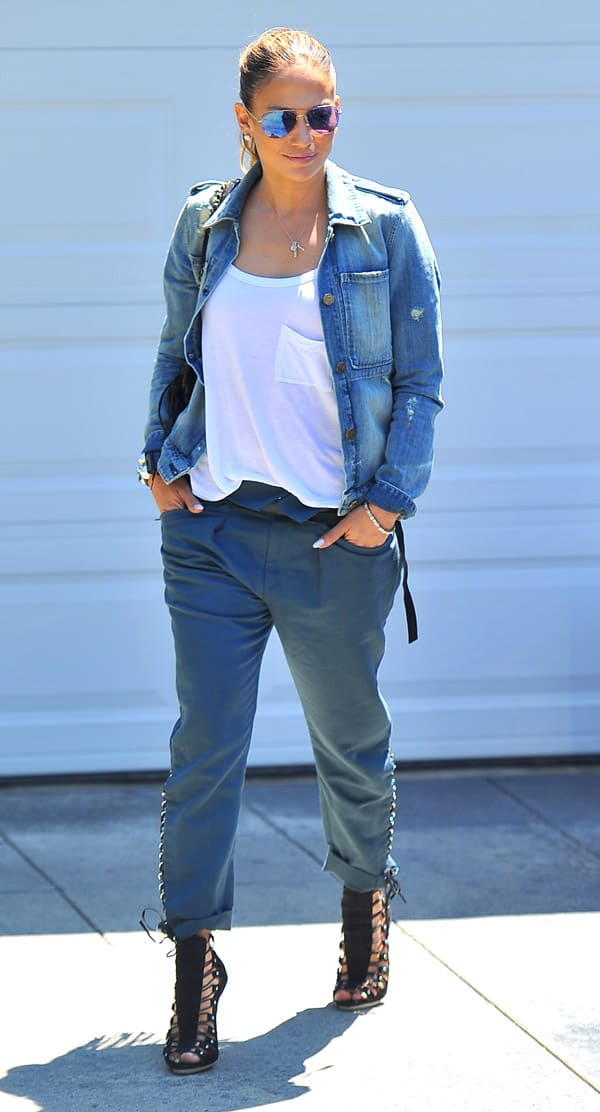 Jennifer Lopez styled Isabel Marant's cotton and linen-blend 'Den' pants with a vintage-inspired McGuire Denim jacket