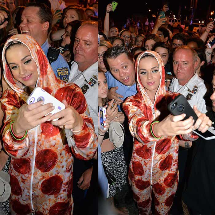 In a head-turning pizza outfit like that, you know Katy wasn't trying to avoid attention