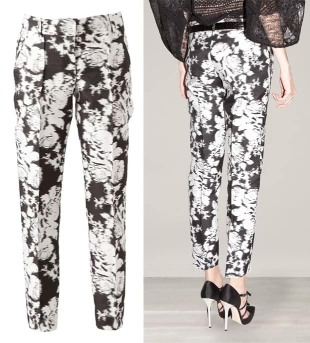 Oscar De La Renta Abstract Floral Print Trousers