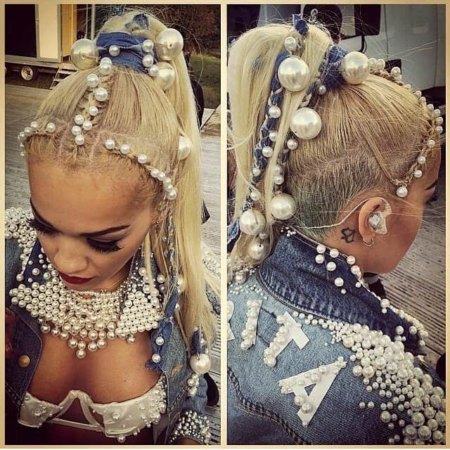 Rita Ora's Instagram pic captioned with 'Pearls in my hair. Yup. @chrisappleton1 we just keep giving it to them!! #pearlspearlspearls #Vfestday2' -- posted on August 18, 2014