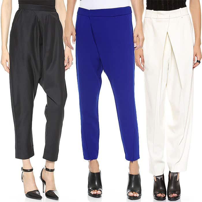 Tailored drop crotch pants