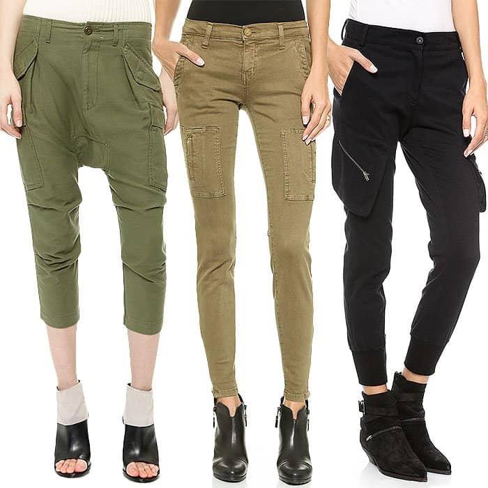 NLST Harem Cargo Pants / Current/Elliott Flat-Pocket Cargo Pants / James Jeans Slouchy Fit Utility Cargo Pants