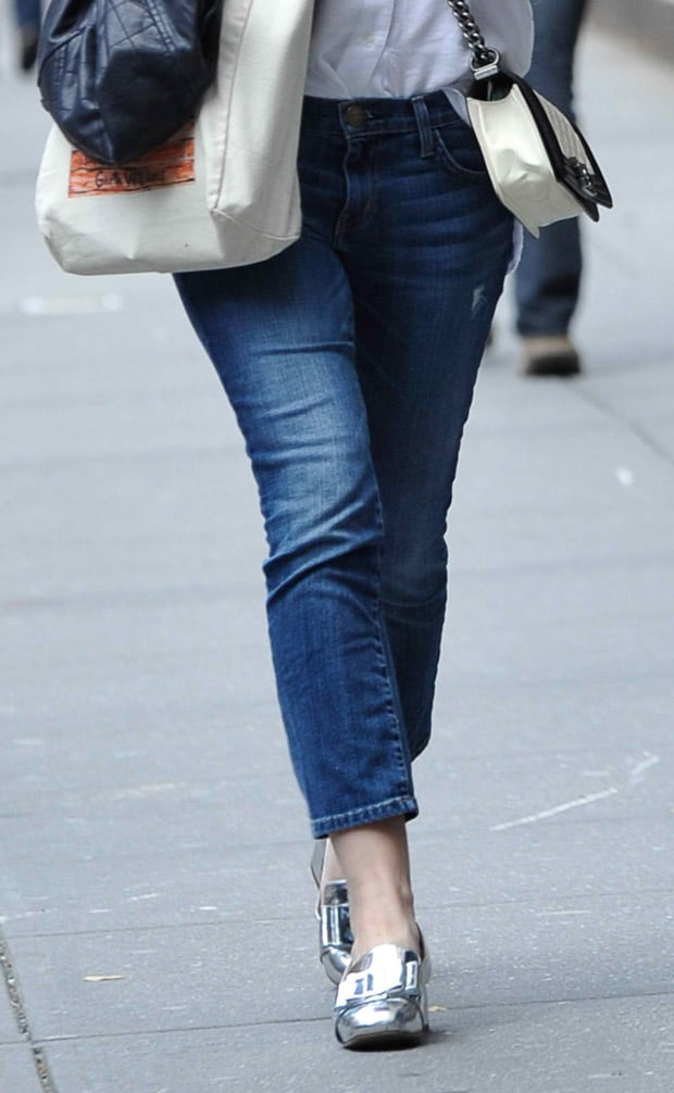 Dakota Fanning styled her cropped boyfriend jeans with silver metallic Miu Miu loafers