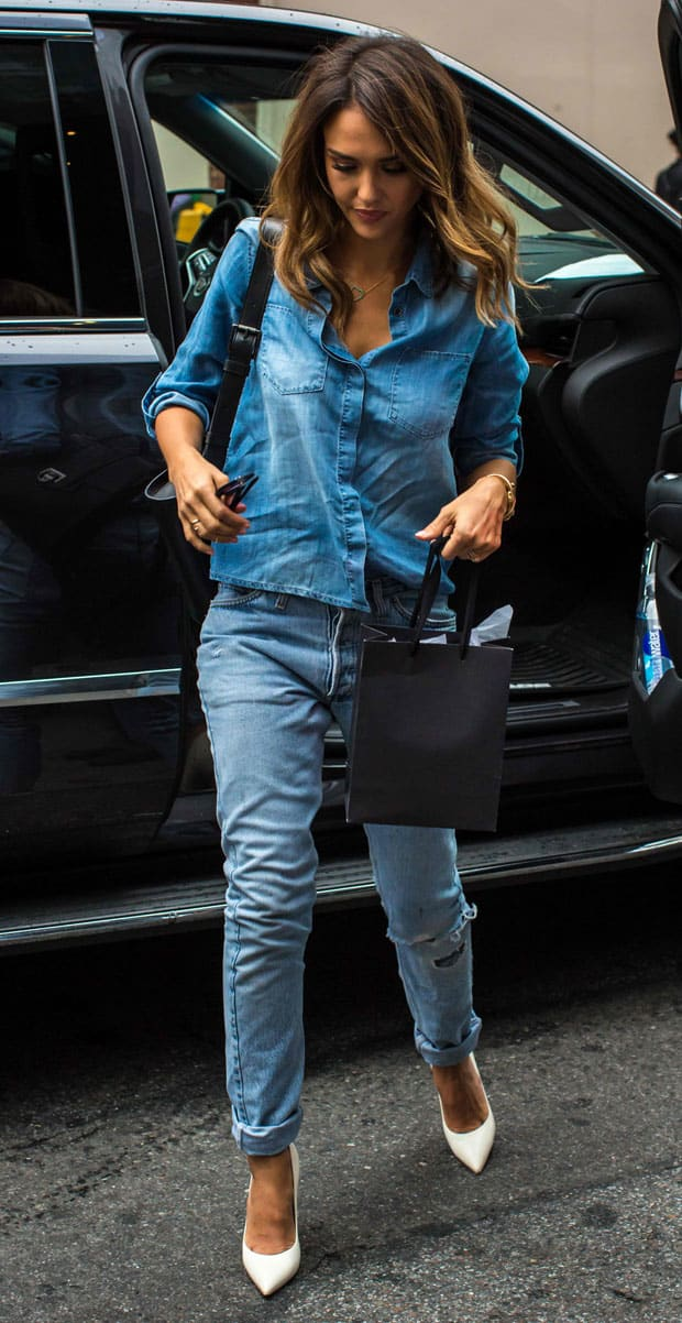Jessica Alba wearing double denim in New York City on September 9, 2014
