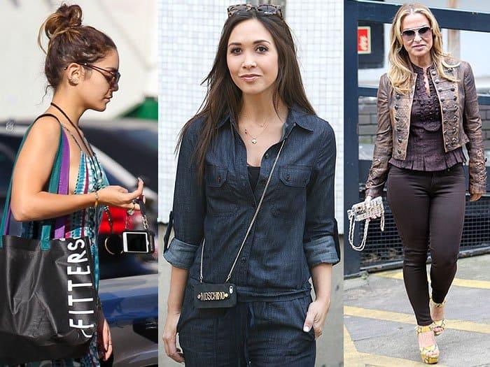 Vanessa Hudgens, Myleen Klass, Anastacia with phone purses